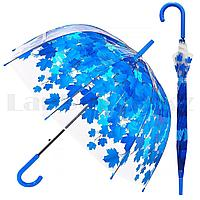 Зонт трость полуавтомат прозрачный 80 см с кленовыми листьями синими