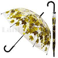 Зонт трость полуавтомат прозрачный 80 см с кленовыми листьями темно-зелеными