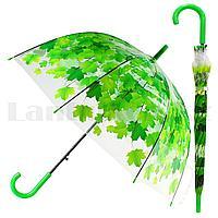 Зонт трость полуавтомат прозрачный 80 см с кленовыми листьями зелеными