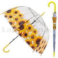 Зонт трость полуавтомат прозрачный 80 см с каплями дождя и подсолнухами желтыми