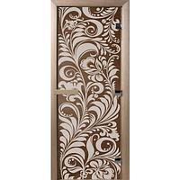 Стеклянная дверь для бани «Luxury» (Золотая Хохлома, бронза 190*70 мм)
