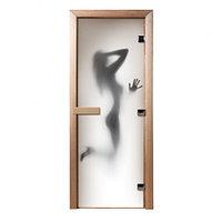 Стеклянная дверь для бани с фотопечатью «Девушка»