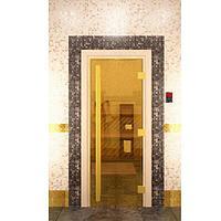 Стеклянная дверь для бани «Престиж» - золотая 190*70 мм