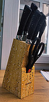 Набор ножей Gottinny 5 штук ножницы и точилка на магнитной подставке G-138