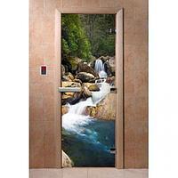 Стеклянные двери для бани с фотопечатью «DoorWood» (большой выбор расцветок)