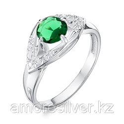 """Алькор серебро с родием, агат зеленый фианит, , """"halo"""" 01-1050/00АГ-00 размеры - 17,5"""