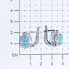 "Серьги TEOSA серебро с родием, фианит синт., с английским замком, ""halo"" 200-1022-T, фото 2"