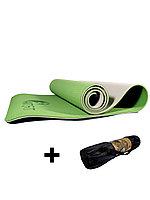 Коврики для йоги ART.FiT (61х183х0.6 см) TPE, с чехлом, зелено-серый