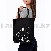 Шоппер эко сумка для покупок на молнии с плечевыми ремнями черная с щенком yammy
