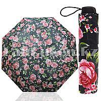 Зонт механический складной женский 22 см с розами черный