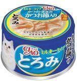 INABA 80г японский тунец-бонито с  парным филе курицы в сливочном соусе влажный корм для кошек