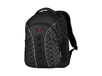 Рюкзак Sun WENGER 16'', черный со светоотражающим принтом, полиэстер, 35x27x47 см, 27 л