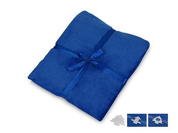 Плед флисовый Natty из переработанного пластика с новогодней биркой, синий