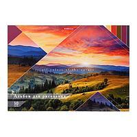 """Альбом для рисования А4, 30 листов на клею """"Краски природы"""", обложка мелованный картон, жёсткая подложка, блок"""