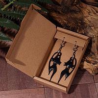 Серьги из кожи 'Кошки' с ошейником, цвет чёрный в серебре