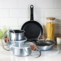 Набор посуды Berlinger Haus Moonlight Edition, 12 предметов: 2 сковороды, 3 кастрюли, 3 стеклянных крышки, 3