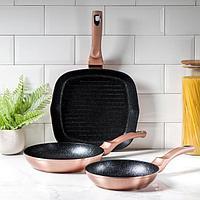 Набор посуды Berlinger Haus Rosegold Line, 3 предмета: сковороды d=20 см, d=24 см, сковорода-гриль d=28 см,