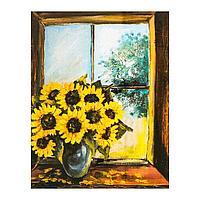 Роспись по холсту «Букет на окне» по номерам с красками по 3 мл+ кисти+инстр+крепеж, 30 × 40 см