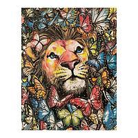 Роспись по холсту «Лев в бабочках» по номерам с красками по 3 мл+ кисти+инстр+крепеж, 30 × 40 см