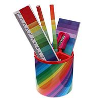 Набор настольный детский Радуга(подставка+2 карандаша+линейка+точилка+ластик+блок 8лист)
