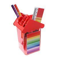 Набор настольный детский Радуга(подставка+2 каранд+линейка+точил+ластик+ блок 8л+ножницы)