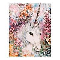 Роспись по холсту «Единорог в цветах» по номерам с красками по 3мл+ кисти+инстр+крепеж, 30 × 40 см