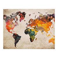 Роспись по холсту «Карта мира» по номерам с красками по 3 мл+ кисти+инстр+крепеж, 30 × 40 см
