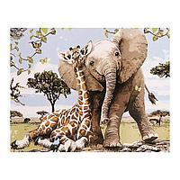 Роспись по холсту «Друзья» по номерам с красками по 3 мл+ кисти+инстр+крепеж, 30 × 40 см