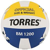 Мяч волейбольный TORRES BM1200, размер 5, синтетическая кожа (микрофибра), клееный, бутиловая камера, цвет