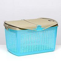 Переноска-корзина для кошек и собак, 47х36х27,5 см, бирюзовый