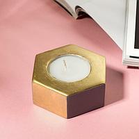 Свеча в подсвечнике 'Серый и золотой', 7 х 3 х 8 см