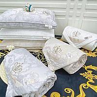 Жаккардовое одеяло двуспальное из шелка и бамбука с растительными узорами разных цветов