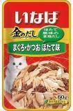 INABA 60г пауч Желтоперый тунец и японский тунец-бонито с гребешком влажный корм для кошек