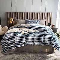 Комплект постельного белья двуспальный из вельвета с геометрическим принтом