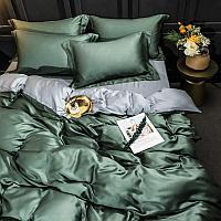 Комплект постельного белья из тенселя SATIN LUX однотонный с контрастным отворотом пододеяльника и простынью