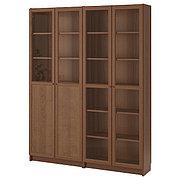 BILLY БИЛЛИ / OXBERG ОКСБЕРГ Стеллаж/панельные/стеклянные двери, коричневый ясеневый шпон/стекло, 160x30x202 см