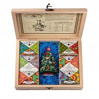Шкатулка с 6 чаями Сугревъ и подарочной елкой - матрешкой, разные цвета, , 90004