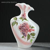 """Ваза напольная """"Лира"""", сирень, бело-розовая, керамика, 40 см"""
