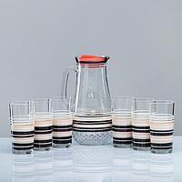 Набор для сока 'Кофейный' художественная роспись, 6 стаканов 1250/200 мл