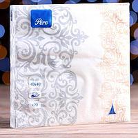 Новогодние салфетки бумажные Pero 40х40 'Версаль' 3сл 20л.