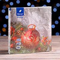 Новогодние салфетки бумажные Перышко Prestige 33х33 'Новогодняя сказка' 3сл 20л.