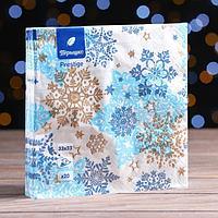Новогодние салфетки бумажные Перышко Prestige 33х33 'Снежная сказка' 3сл 20л.