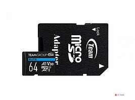 Карта памяти Team Group Elite MicroSDHC/SDXC 64GB U3 TEAUSDX64GIV30A103, 90MB/sec; Write: 45MB/sec + SD