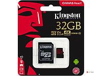 Карта памяти Kingston 32GB microSDHC Canvas React 100R/70W U3 UHS-I V30 A1 Card + SD Adapter