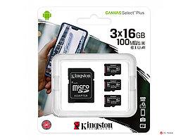 Карта памяти Kingston 16GB micro SDHC Canvas Select Plus 100R A1 C10 Three Pack + Single ADP, SDCS2/16GB-3P1A