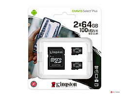 Карта памяти Kingston 64GB micro SDHC Canvas Select Plus 100R A1 C10 Two Pack + Single ADP, SDCS2/64GB-2P1A