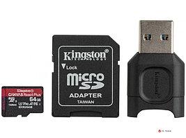Карта памяти Kingston microSD MLPMR2/256GB UHS-II  4K/8K + microSD Reader, W165МБ/с, R285МБ/с, HD-дронов и