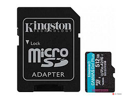 Карта памяти Kingston 512GB microSDXC Canvas Go Plus 170R A2 U3 V30 Card, с адаптером, SDCG3/512GB