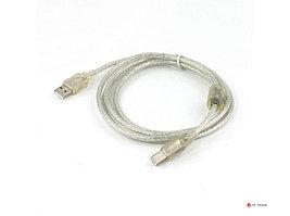 Кабель USB 2.0 Pro Cablexpert CCF-USB2-AMBM-TR-6, AM/BM, 1,8м, экран, феррит.кольцо, прозрачный, пакет