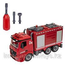 Пожарная машина с цистерной и водомётом разборная инерционная, 30 см, звук, свет
